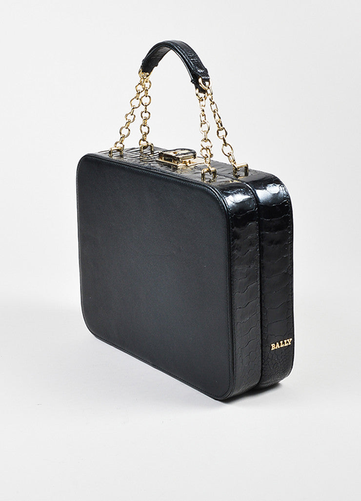 "Black Bally Leather and Crocodile ""Delfina"" Top Latch Chain Strap Box Bag Sideview"
