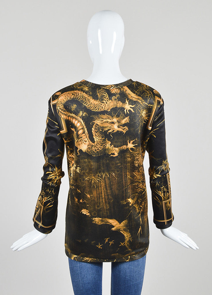 Yellow and Black í«ŒÇ?íëíìBalmain Bamboo Dragon Graphic Print Neoprene Sweatshirt Backview