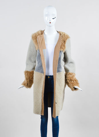 Tan, Grey, and Beige Belstaff Shearling Lambskin Reversible Coat Frontview