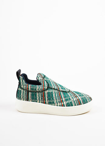 "Celine Green, Cream, and Red Tweed ""Love Life"" Limited Edition Sneakers Sideview"