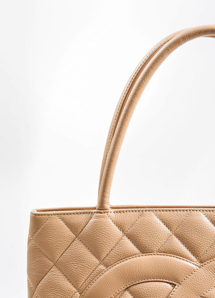 Beige Chanel Caviar Leather 'CC' Logo Quilted Medallion Tote Bag Detail 3
