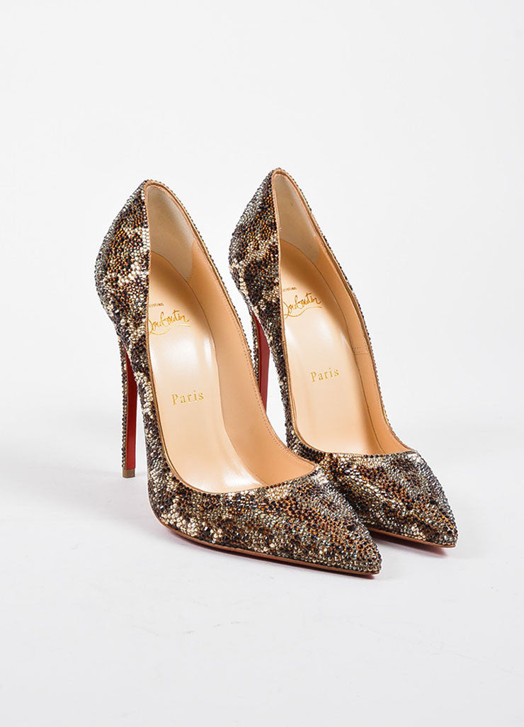 "Brown Christian Louboutin ""So Kate Strass Leopard 120"" Pumps Frontview"
