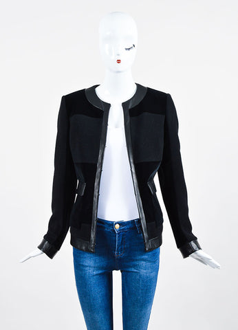 Black Christopher Kane Cashmere, Velvet, and Leather Paneled Jacket Frontview