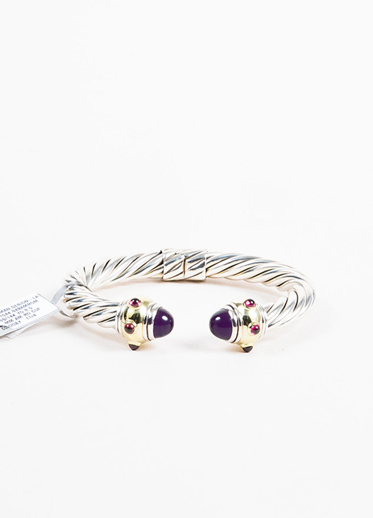 "Sterling Silver David Yurman Gold Amethyst ""Renaissance"" Cable Cuff Front"