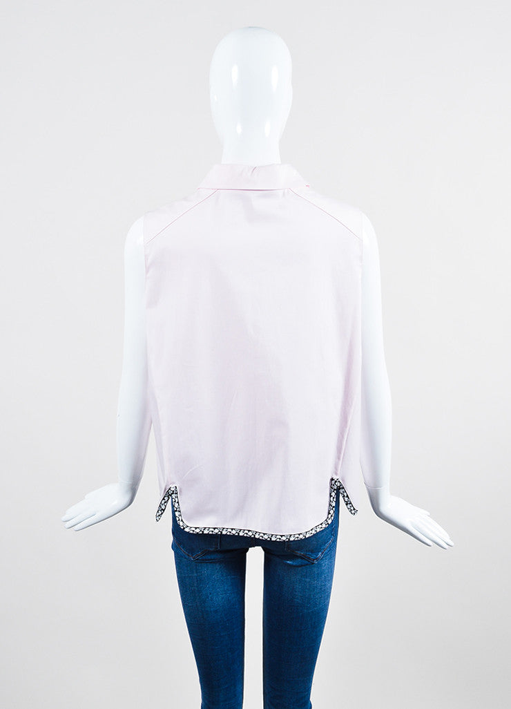 Pink, Black, and White Trim Christian Dior Sleeveless Button Up Crop Top Backview