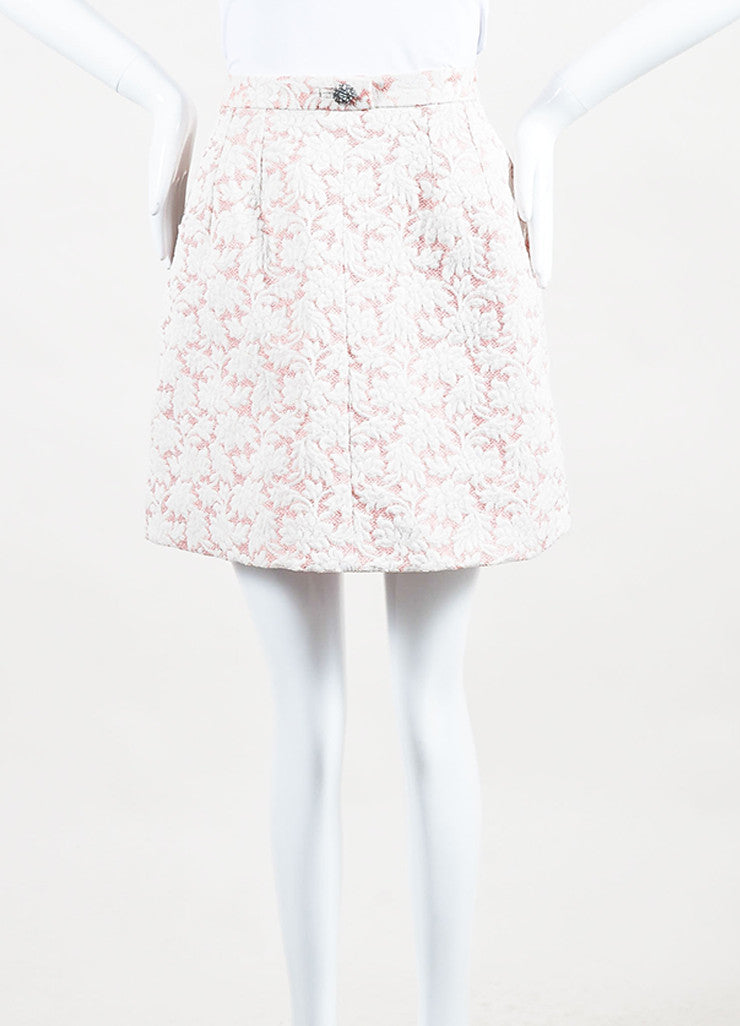 Dolce & Gabbana Pink and White Brocade Mini Skirt frontview