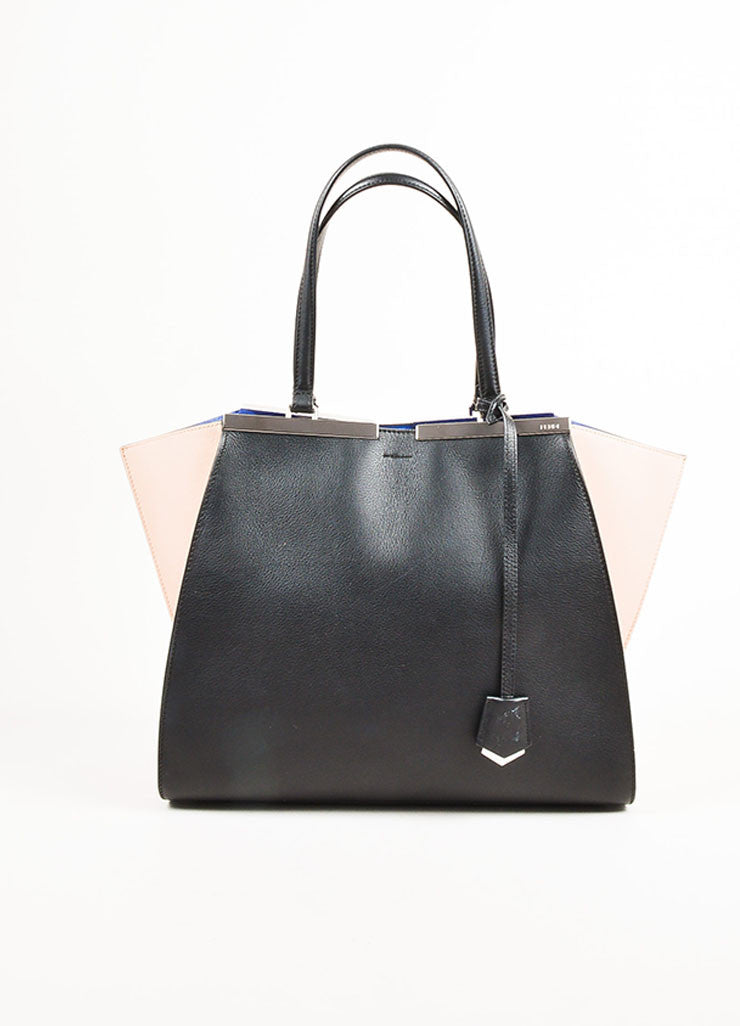 "Fendi Black, Pale Pink, and Blue Leather Color Block Medium ""3 Jours"" Satchel Frontview"
