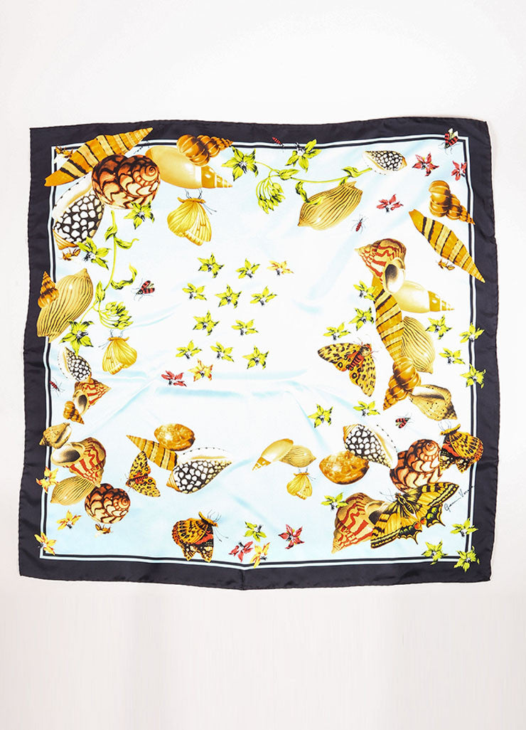 Gianni Versace Multicolor Silk Seashell and Butterfly Print Scarf Frontview