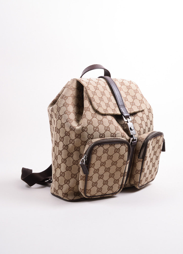 "Gucci Brown ""GG"" Monogram Canvas Backpack Sideview"
