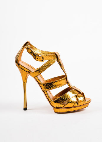 Gold Gucci Python Leather Cage Strap Heeled Sandals Side