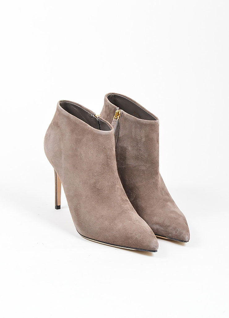 "Grey Gucci Suede Pointed Toe Zip ""Brooke"" 95mm Stiletto Booties Frontview"