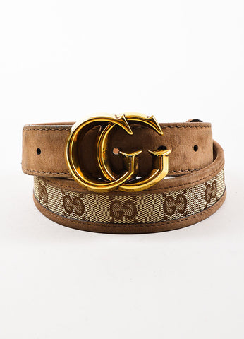 Gucci Tan Gold Toned Suede and Canvas Monogram Belt  Frontview