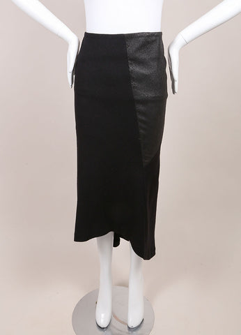 "Haider Ackermann New With Tags Black Asymmetric Leather and Wool ""Serlupi"" Skirt Frontview"