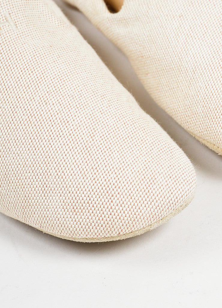 Hermes Cream Canvas House Slippers Detail