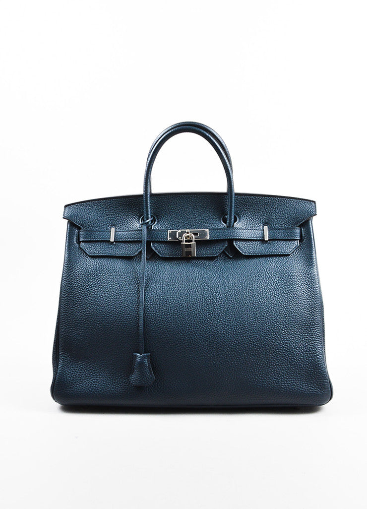 "Hermes Navy Blue Clemence Leather Palladium Hardware ""Birkin"" 40 cm Bag Frontview"
