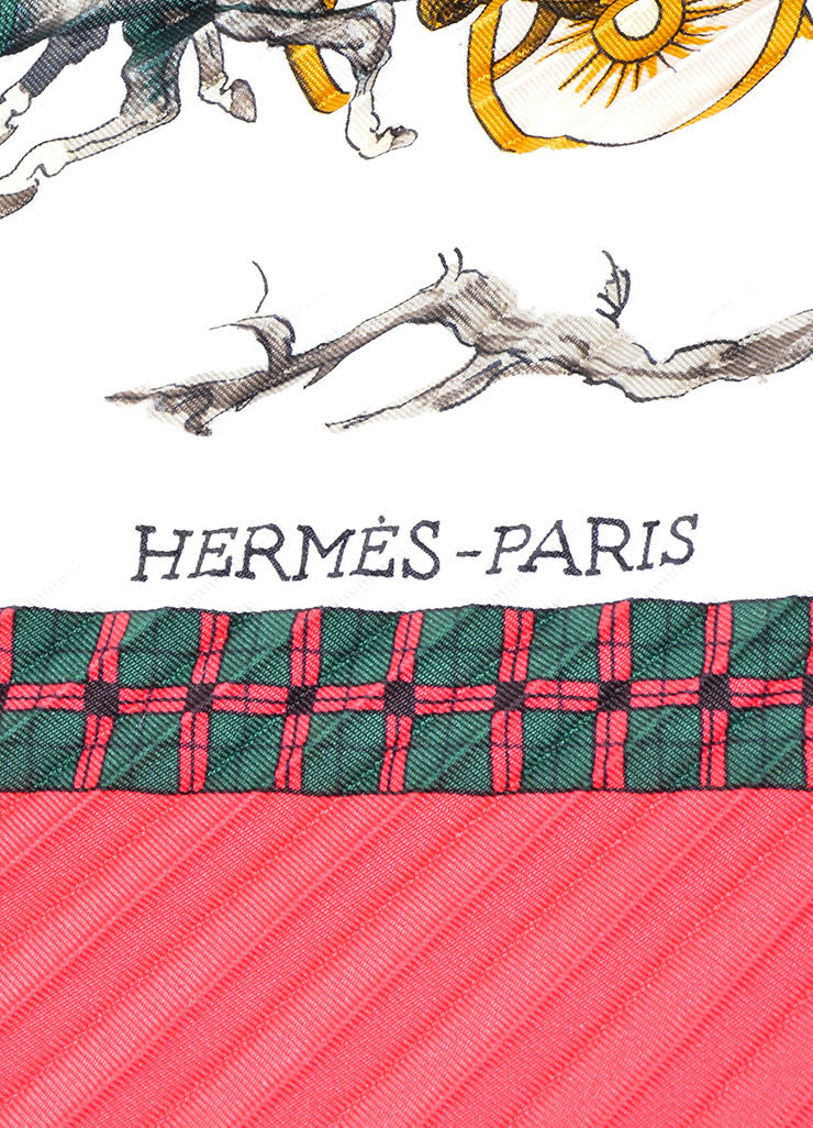 "Hermes Multicolor Silk Pleated Winter Print ""L'Hiver En Poste"" Plisse Scarf Brand"