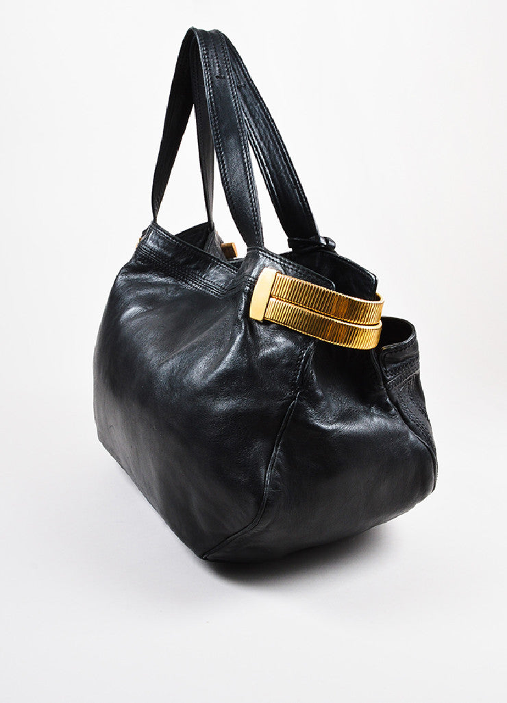 "Jimmy Choo Black Leather Gold Toned Metal ""Elsa"" Tote Bag Sideview"
