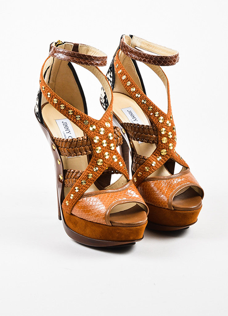 "Jimmy Choo Tan Patent Leather Peep Toe ""Vivienne"" Platform Sandals Frontview"
