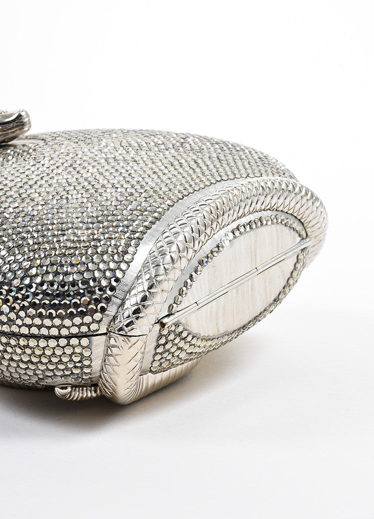 Judith Leiber Metallic Silver Toned Snake Frame Crystal Encrusted Miniaudiere Bottom View
