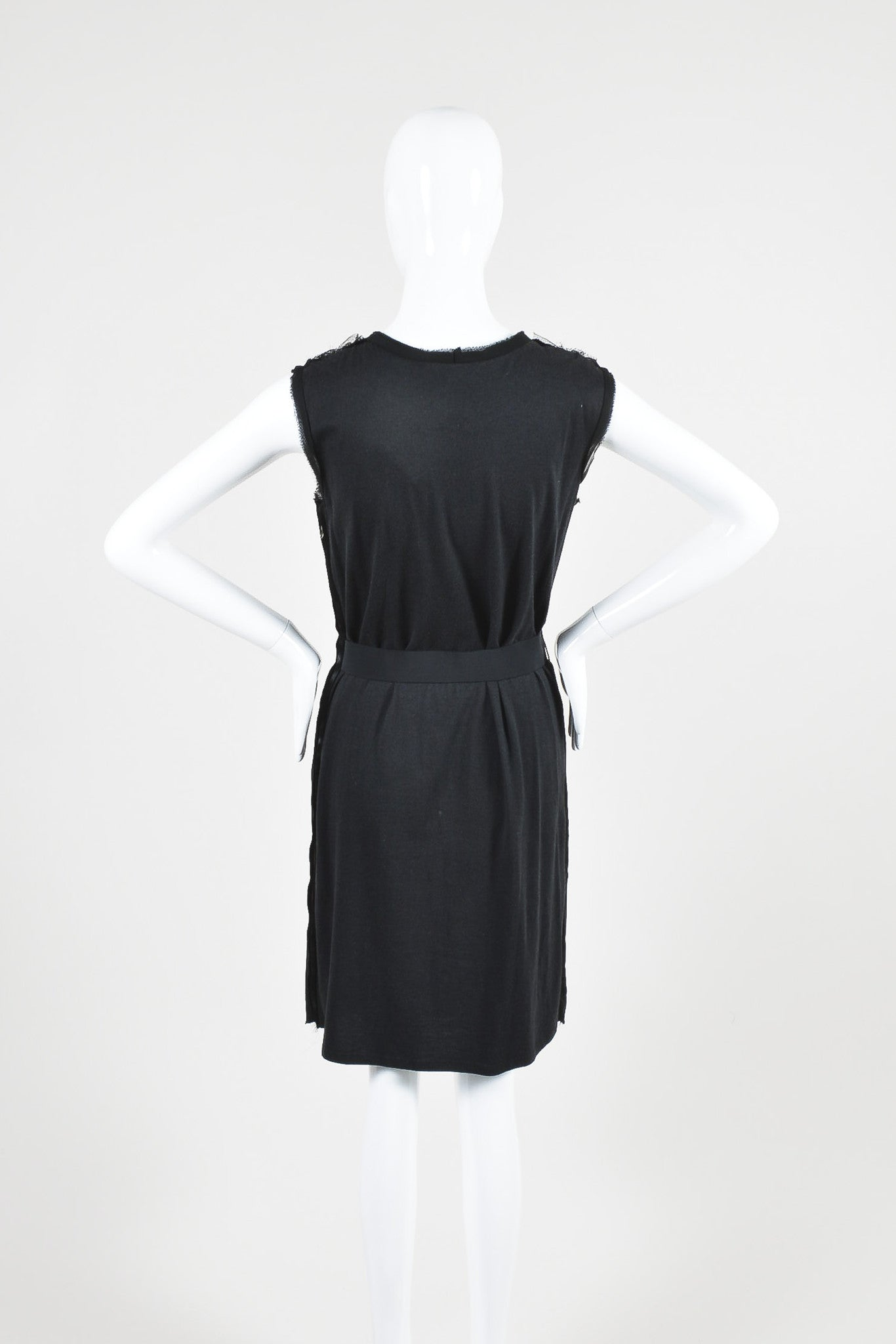 Lanvin Black Cotton Knit Chiffon Crystal Embellished Belted Sleeveless Dress Backview