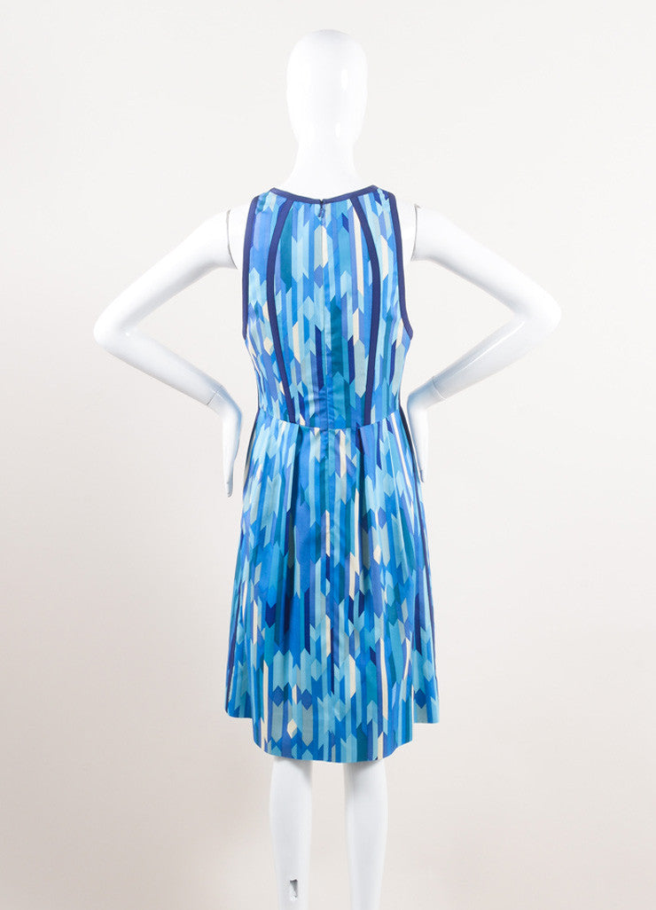 Lela Rose New With Tags Blue and Green Silk Geometric Print Sleeveless A-Line Dress Backview