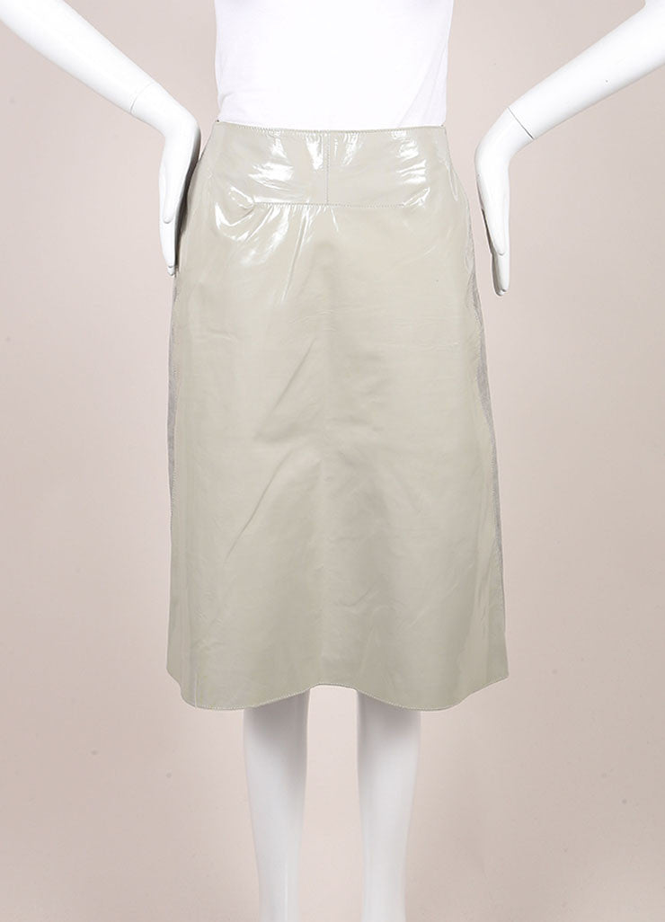 Marni Grey Patent Leather and Linen Straight Knee Length Skirt Frontview