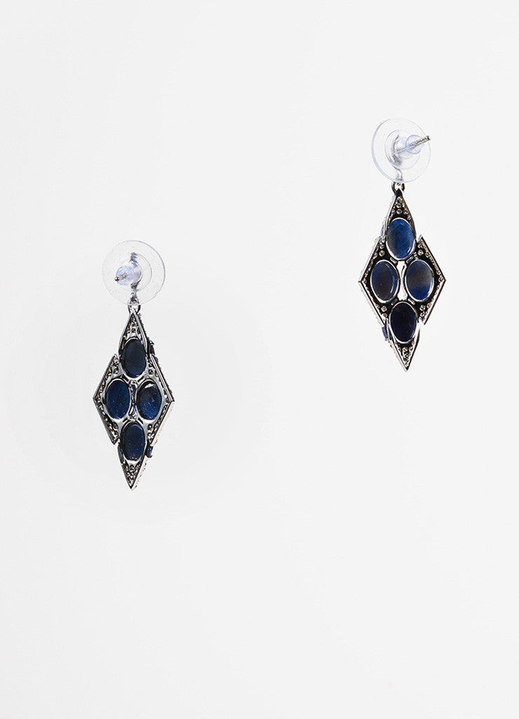 18K White Gold Sapphire Diamond Embellished Marquise Drop Earrings Backview