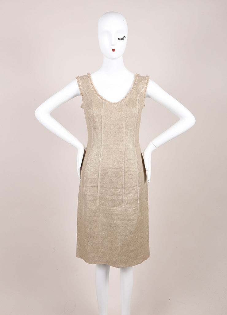 Oscar de la Renta Gold Metallic Linen and Hemp Sleeveless Sheath Dress Frontview