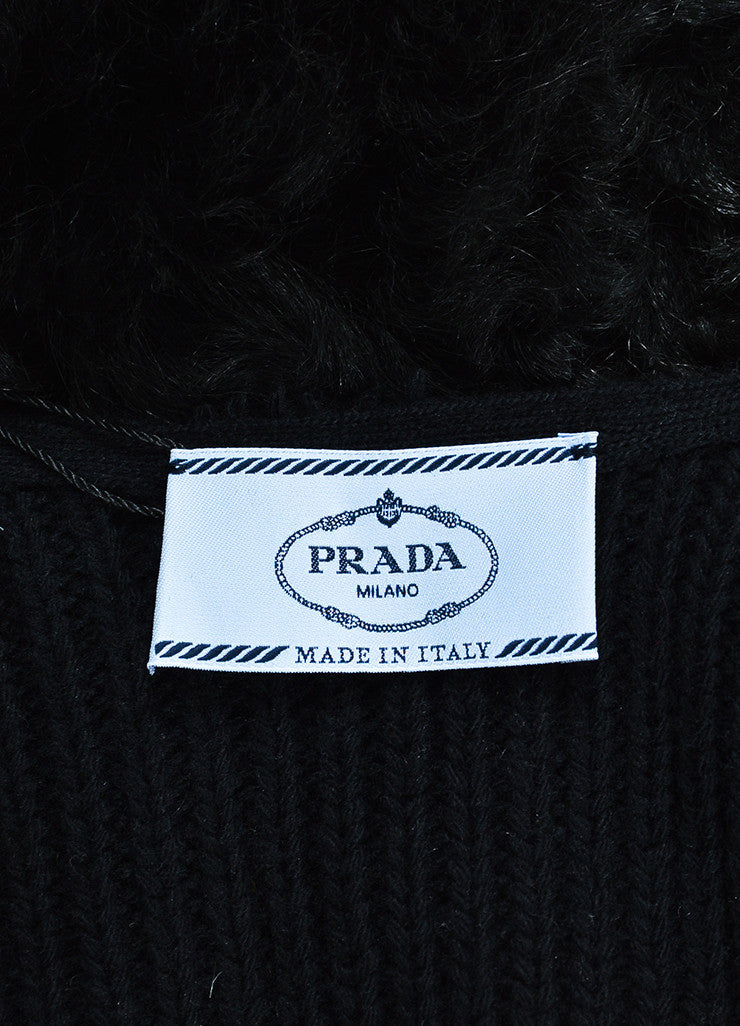 Prada Black Sheep Fur and Wool Knit Belted Vest Brand