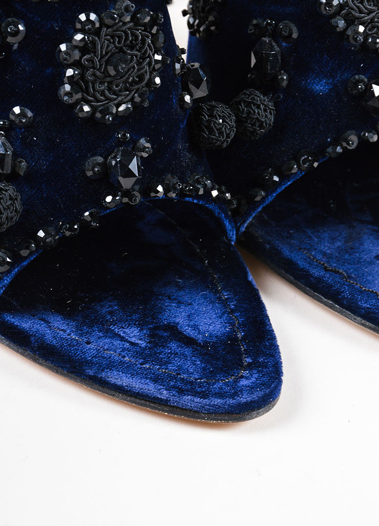 Cobalt Blue and Black Prada Velvet Beaded Embroidered Heeled Mules Detail