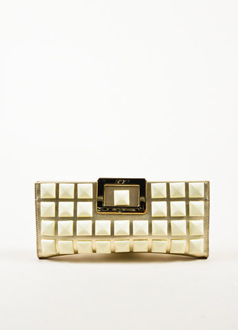 "Roger Vivier Metallic Gold and Cream Leather Studded ""Swiss Chocolate"" Clutch Bag Frontview"