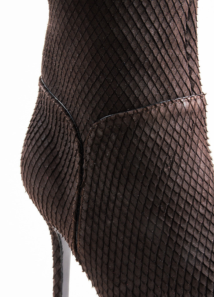 Sergio Rossi Brown Snakeskin Style Suede Heeled Over the Knee Boots Detail