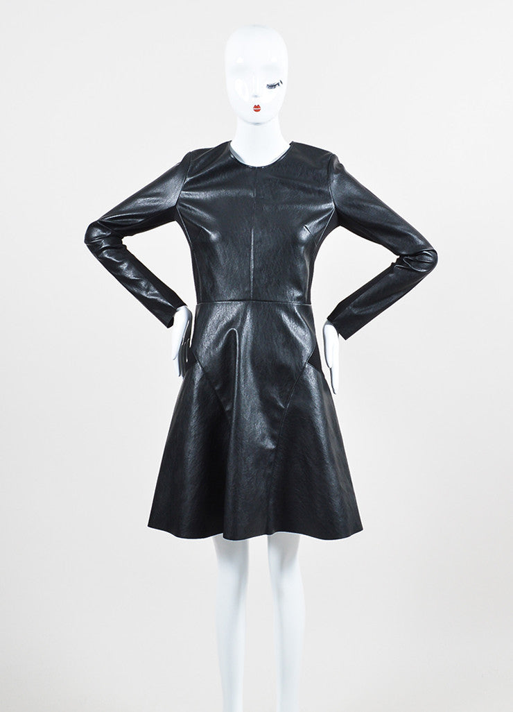 Twilley Atelier Black Vegan Leather Long Sleeve Flared Skater Dress Front 2