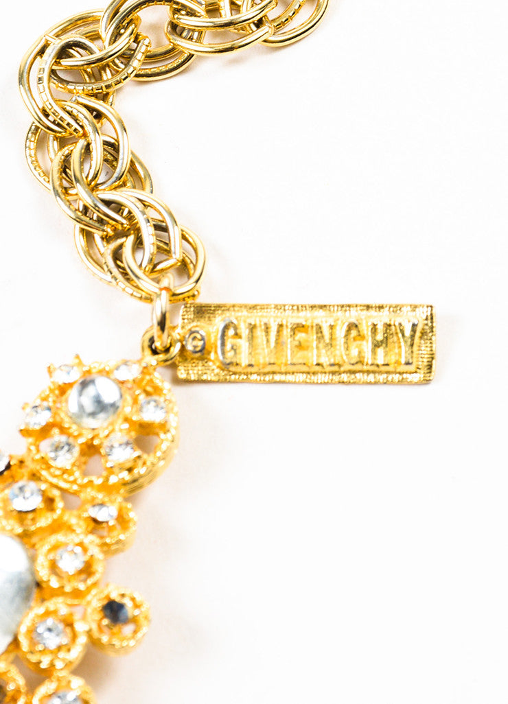 Givenchy Gold Toned Rhinestone Crystal Glass Stone Clustered Link Belt Brand