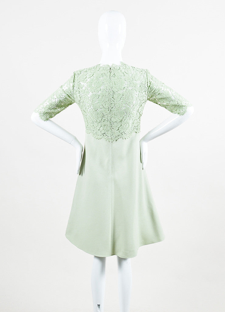 Valentino Mint Green Lace Mid Sleeve A-Line Dress Back