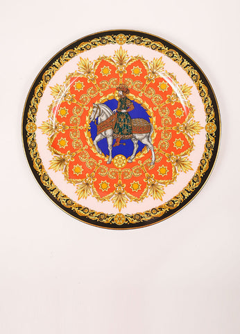 "Versace Rosenthal Coral and Yellow ""Le Roi Balthazar 1996"" 12 inch Service Plate Frontview"