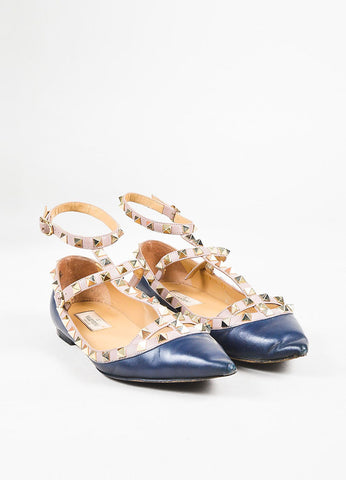 Valentino Garavani Navy Blue Leather Gold Toned Rockstud Ankle Strap Flats Frontview