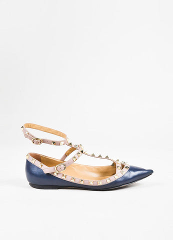 Valentino Garavani Navy Blue Leather Gold Toned Rockstud Ankle Strap Flats