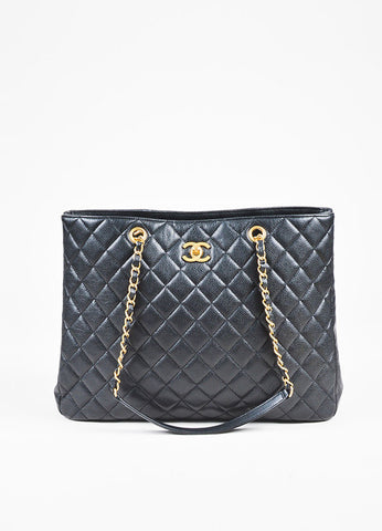 Chanel Black Caviar Leather Quilted Gold Toned Chain Link Tote Bag Frontview