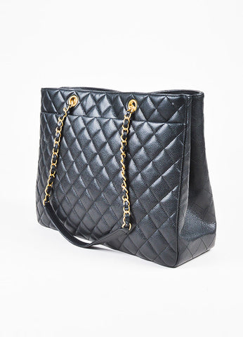 Chanel Black Caviar Leather Quilted Gold Toned Chain Link Tote Bag Sideview