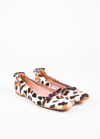 Alaia Cream and Brown Ponyhair Patent Bow Animal Print Square Toe Ballet Flats Frontview