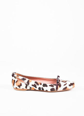 Alaia Cream and Brown Ponyhair Patent Bow Animal Print Square Toe Ballet Flats Sideview