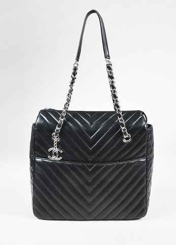 "Chanel Black Lambskin Chevron Quilted ""Zip Shopping"" Shoulder Bag Front"