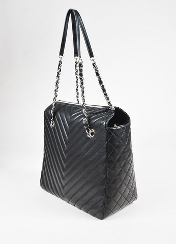 "Chanel Black Lambskin Chevron Quilted ""Zip Shopping"" Shoulder Bag Back"