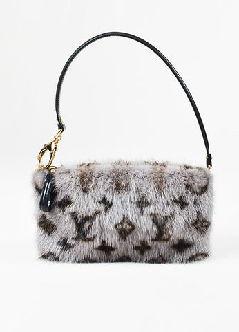 "Louis Vuitton Grey, Brown, and Black Mink Fur Monogram ""Milla MM"" Pouch Wristlet Bag Frontview"