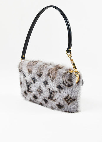 "Louis Vuitton Grey, Brown, and Black Mink Fur Monogram ""Milla MM"" Pouch Wristlet Bag Sideview"