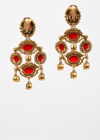 Oscar de la Renta Gold Toned and Red Resin Rhinestone Chandelier Clip On Earrings Backview