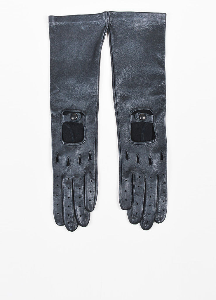 Marni Black Deerskin Leather Long Perforated Driving Gloves Frontview