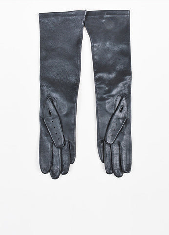 Marni Black Deerskin Leather Long Perforated Driving Gloves Backview