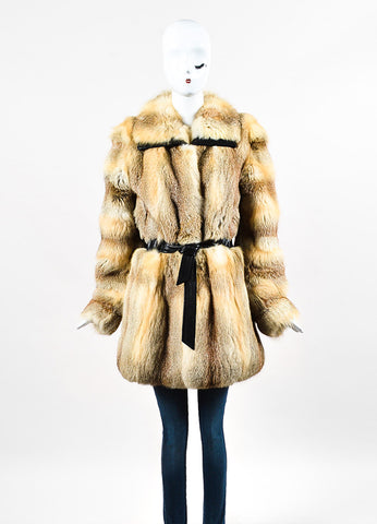 Balenciaga Beige, Black, and Tan Fox Fur and Leather Belted Coat Frontview